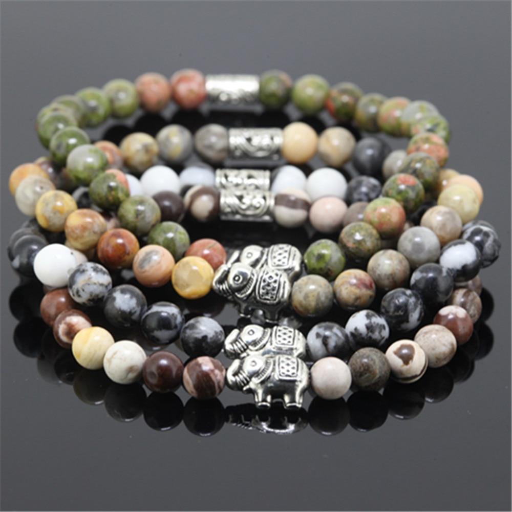 10pcs beaded silver plated elephant charm women bracelet natural 6mm unakite/Stone/zebra round stone beads bracelet for girl