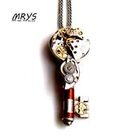 steampunk punk key mechanical watch parts movements pendant necklace chain charm women men boy girls handmade jewelry christmas