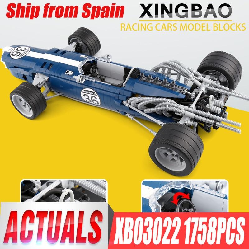 купить XINGBAO 03022 Genuine 1758PCS The Blue Racing Car Set Building Blocks Bricks Educational Funny Toys As New Year Gifts For Kids по цене 5371.8 рублей