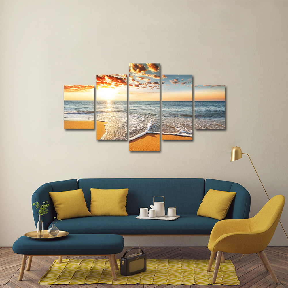 Unframed Canvas Painting Sunshine Clouds Waves Beach Photo Picture Prints Wall Picture For Living Room Wall Art Decoration