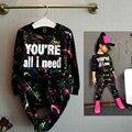 2017 Moda niñas chándal bebé niños ropa deportiva conjunto coloful letra impresa juego de los niños ropa de la camiseta + Pantalones 2 unids/set