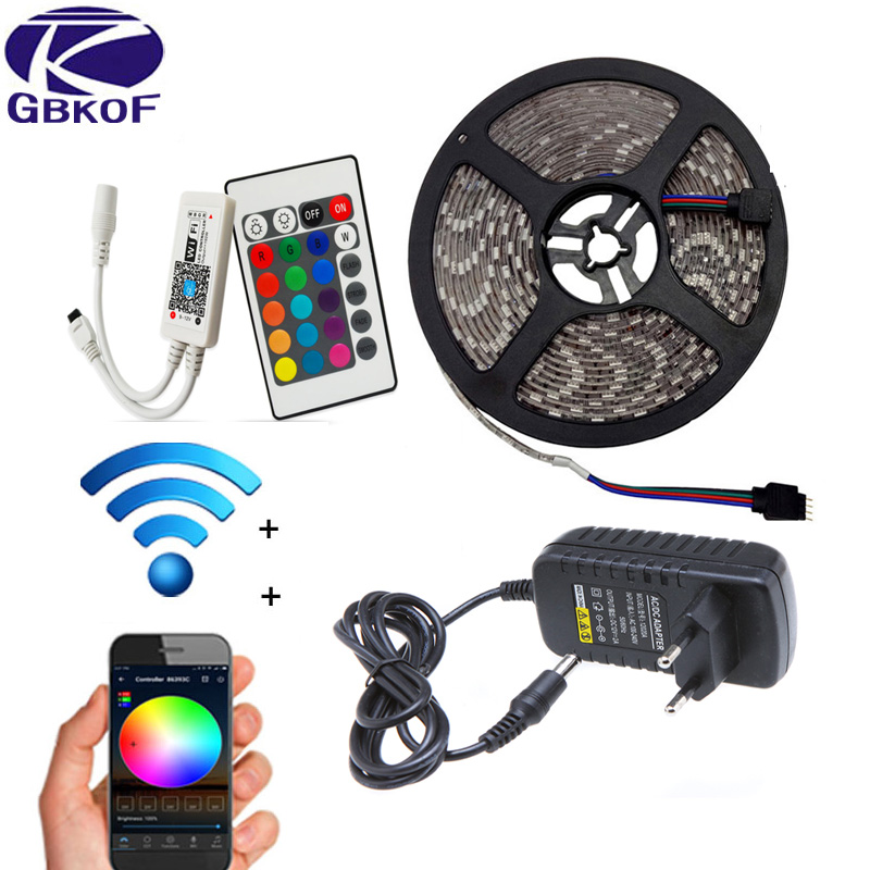 5 m 10 m 15 M WiFi RGB LED de luz de tira impermeable de SMD5050 3528 2835 DC 12 V led tiras de cinta flexible de contoller + enchufe ledstrip