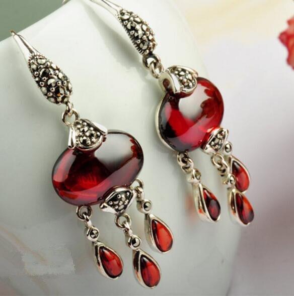 Paragraphs 925 Sterling Silver Women Earrings Pomegranate Shi Taiyin Wholesale Sterling Silver Earrings