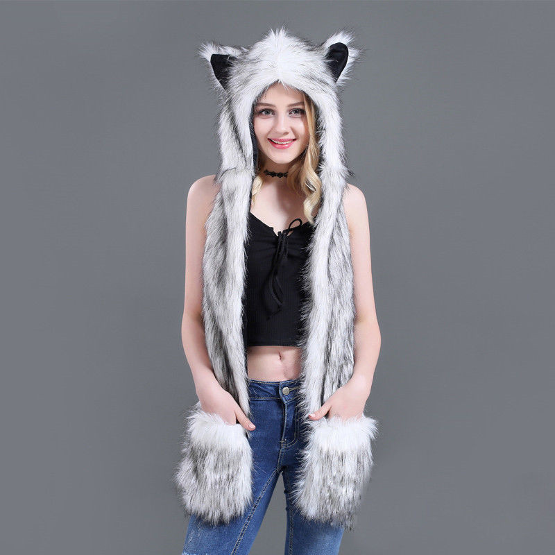 Hooded-Cap Bomber-Hat Winter Women Plush Warm Cartoon Animal Fleece Fluffy