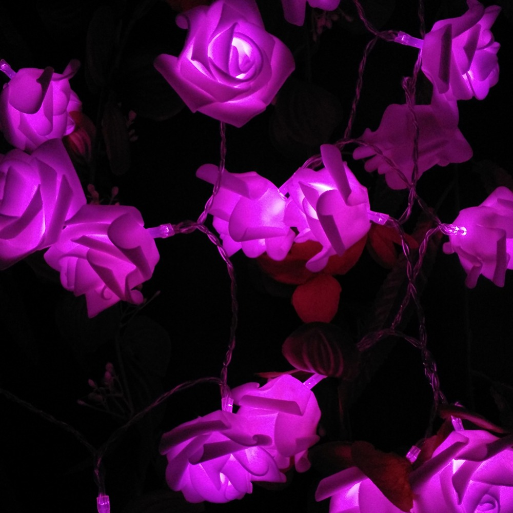 Image 4 - YIYANG 2M 20 Roses Flower Garland LED Holiday String Lights Valentine Birthday Wedding Party Decoration Economic Battery Lights-in LED String from Lights & Lighting on