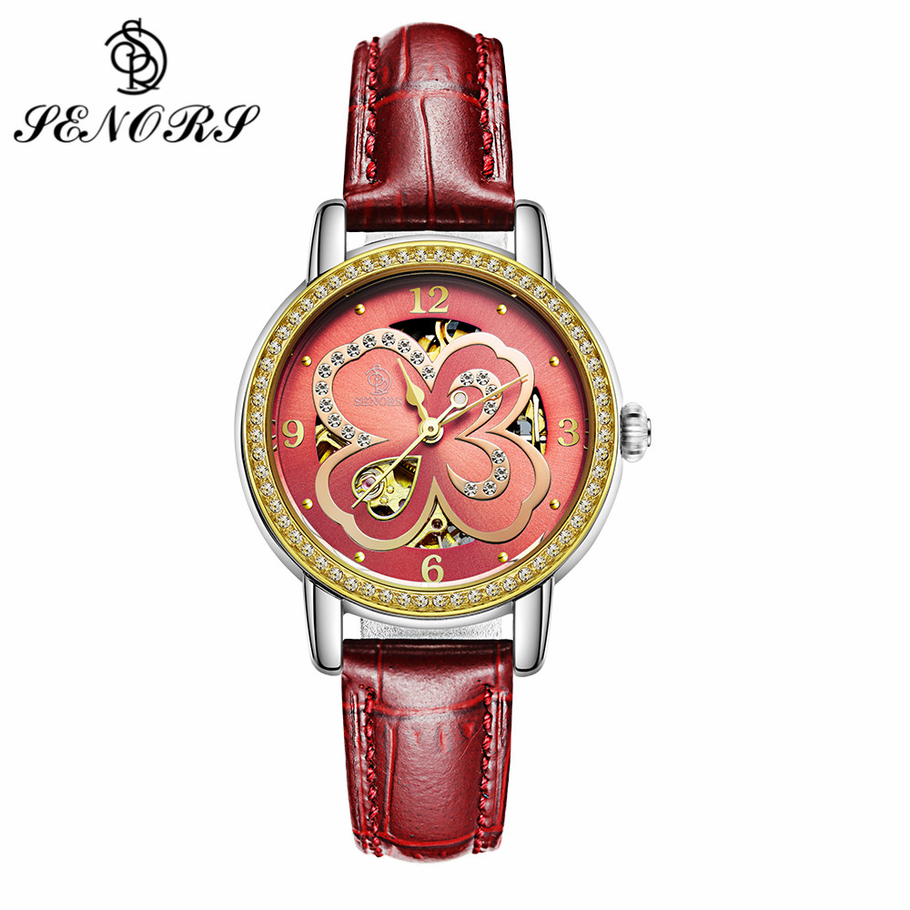 SENORS Luxury Gold Woman's Mechanical Watches Top Brand Clock Rhinestone Clover Dial Leather Ladies Automatic Wristwatches SN118