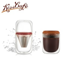 250ml Coffee Cup Stainless Steel Glass Travel Powder Seive Portable Manual Filter PP Machine Water