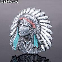 Купить с кэшбэком WesBuck Brand Indian Belt Buckles for Men Women Cool Buckles Metal Cowboy Cowgirl Western Fivela Marvel Boucle Ceinture