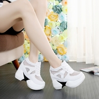 Summer New Hollow high heeled Shoes 12 Cm High Thick Platform Shoes Korean Fashion Sequins Casual Sneakers