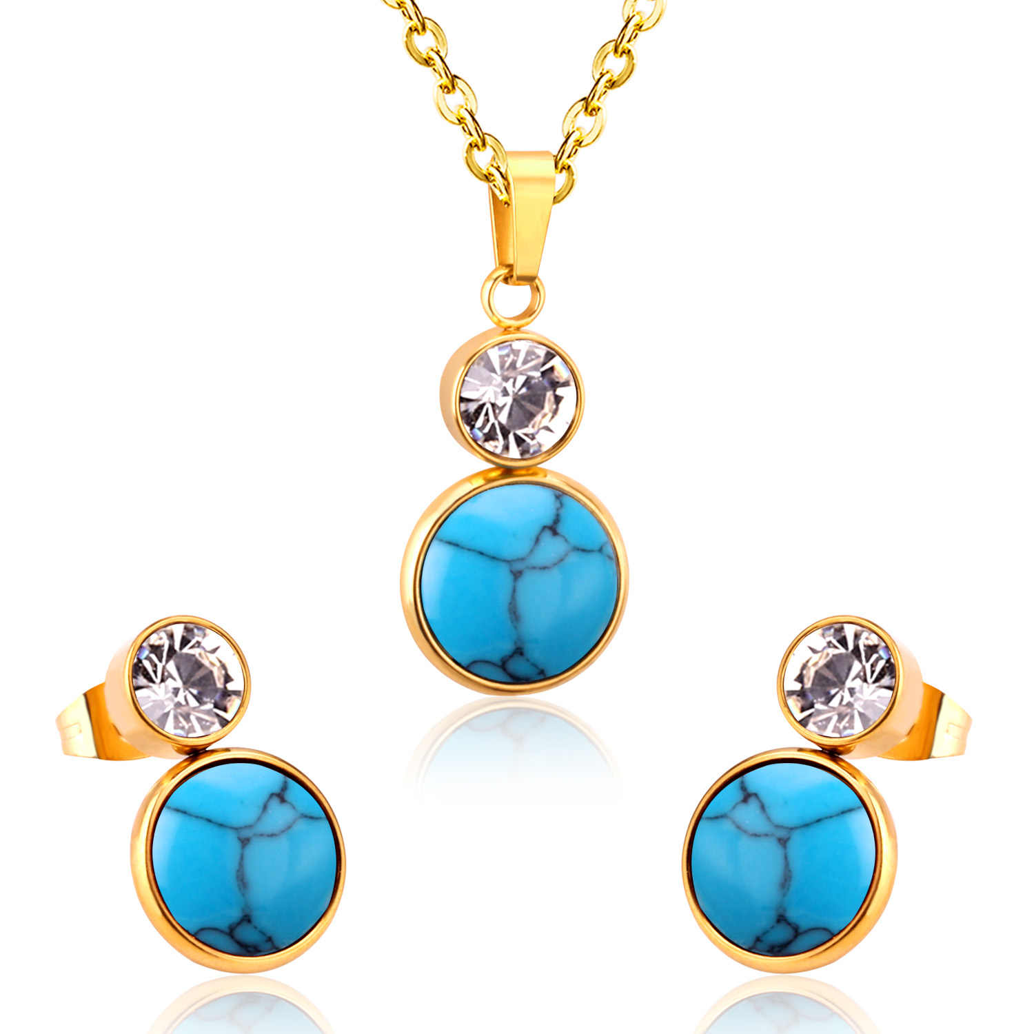 LUXUKISSKIDS Romantic Valentine's Day present CZ Opals Stainless Steel Jewelry Sets For Fashion Lady/Women