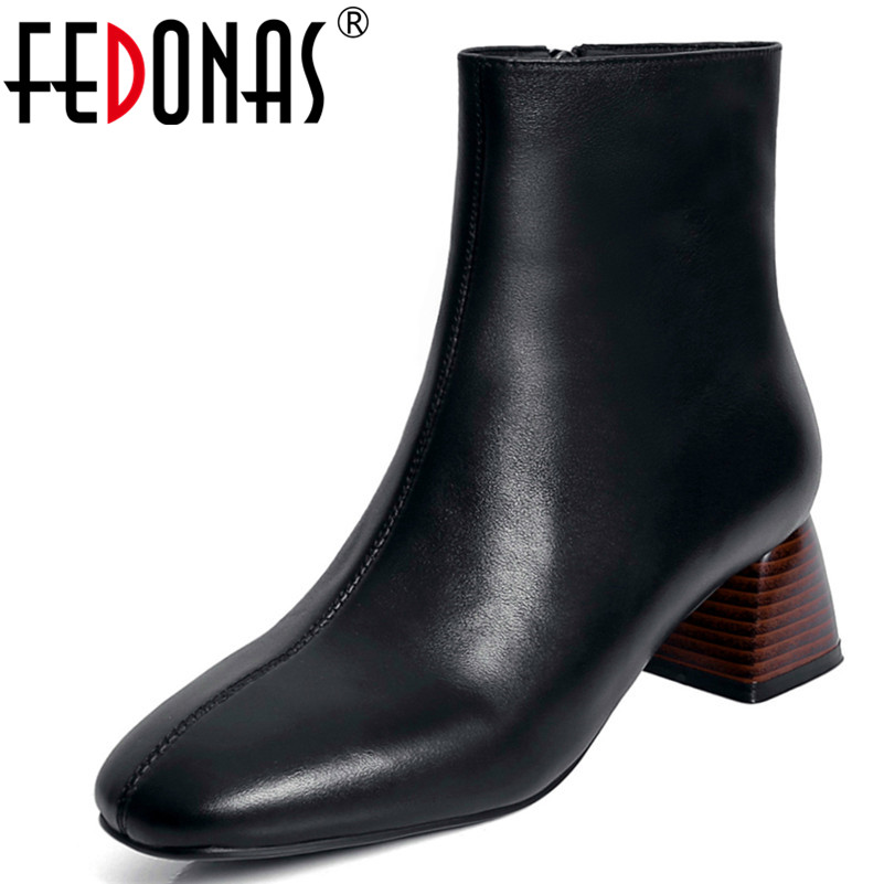 FEDONAS1New Arrival Women Ankle Boots Genuine Leather High Heels Shoes Autumn Winter Warm Zipper Concise Square Toe Martin Boots liren autumn winter snow boots square high heels shoes casual martin boots women fashion zipper genuine leather ankle boots