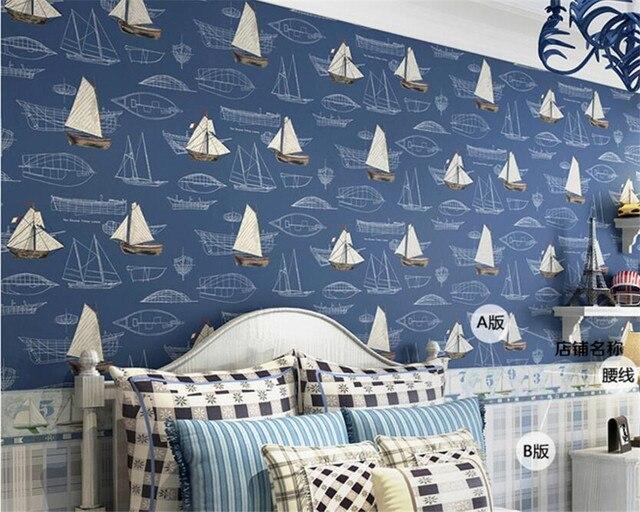 Beibehang diepe blauwe zeilen zeilen cartoon jongen kamer