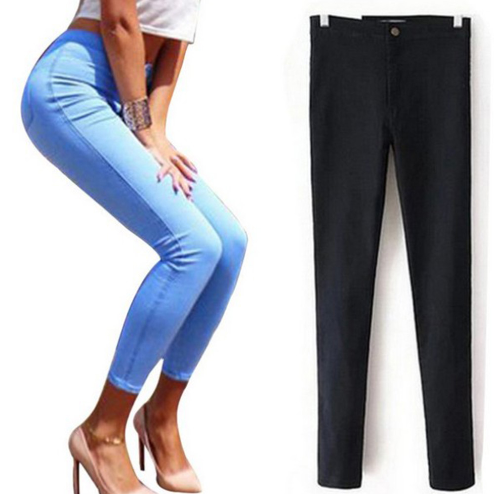 3fc6f25e2d270 YHKGG Mince Jeans Pour Femmes Maigre Taille Haute Jeans Femme Bleu Denim  Crayon Pantalon Stretch Taille Femmes Jeans Calca Feminina dans Jeans de  Mode Femme ...