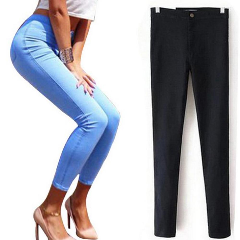 YHKGG Slim Jeans For Women Skinny High Waist Jeans Woman Blue Denim Pencil Pants Stretch Waist Women Jeans Calca Feminina