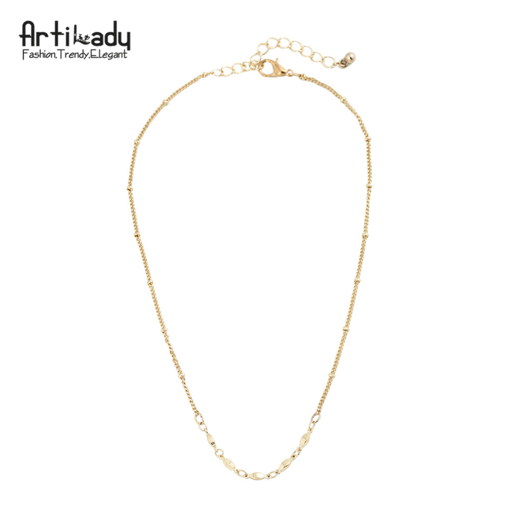 Artilady gold color chain choker necklace simple design necklace boho jewelry for women gift