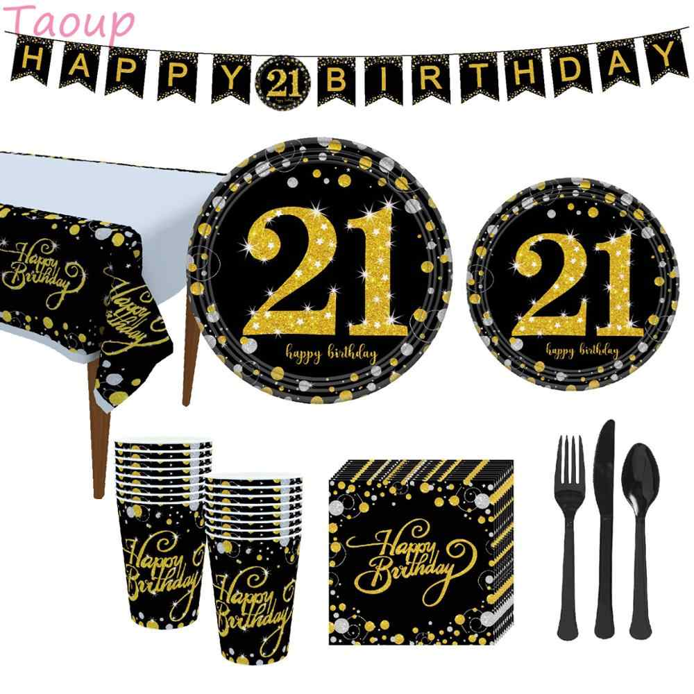 Taoup Black Gold 21th Disposable Tableware Towel Plates Tablecover Cups Disposable Party Tableware 21 Birthday Party Supplies