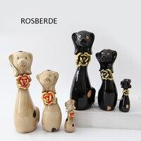 3 pc/lote Família Cão miniaturas figuras de Cerâmica artesanato decoração de casa decoração do jardim por atacado presente de casamento presente de aniversário D001
