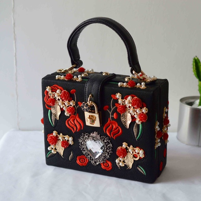Vintage Evening Bag Women Bags Embroidery Rose Diamond Fl Box Clutch Purse Shoulder Messenger Crossbody Handbag