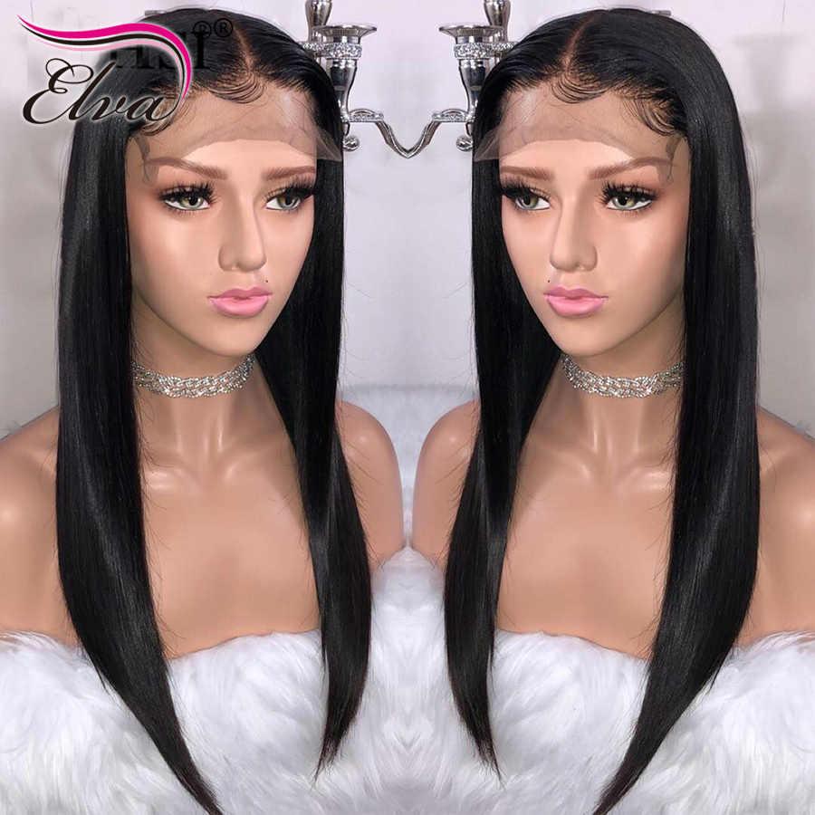 Волосы ELVA человеческих волос Full Lace парики предварительно сорвал натуральных волос с ребенком волосы прямые бразильские Волосы remy обесцвеченные парики вида шишка-пучок