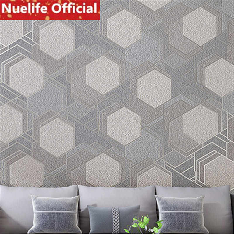 0 53x10m Faux Suede Geometric Square Non Woven Wallpaper Living Room Bedroom Office Dining Room Study Tv Background Wall Paper
