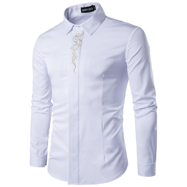 High Quality Men's Shirts 2017 Fashion Turn Down Collar Long Sleeve Embroidery Dress Shirts Men Business Work Tops Shirt S-2XL 2