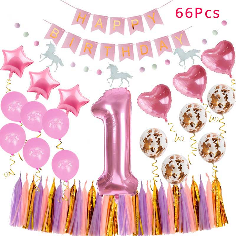 WEIGAO First Birthday 1st Decoration Girl Boy Party Foil Balloons Baby Shower Supplies 40inch Number 1 Ballons In DIY Decorations From