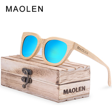 2017 MAOLEN New fashion Wood Sunglasses Women 100% Bamboo Frame Sun Glasses Retro Vintage TAC Lens Wooden Frame Handmade Eyewear