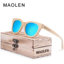 2017 MAOLEN New fashion Wood Sunglasses Women 100% Bamboo Frame Sun Glasses Retro Vintage TAC Lens Wooden Frame Handmade Eyewear