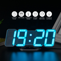 3D Voice Control Wall Clock Wireless Remote Digital Wall Clock LED 115 Colors Display Adjustable brightness Desktop Clock USB