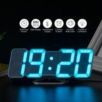3D Voice Control Wall Clock Wireless Remote Digital Wall Clock LED 115 Colors Display Adjustable brightness Desktop Clock USB
