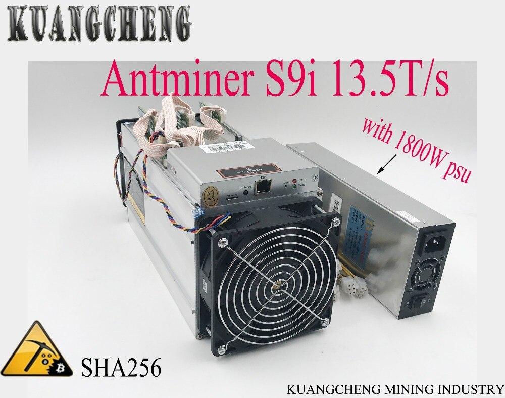 Em Estoque Estilo antigo Antminer S9-13.5TH/s com PSU Bitmain Antminer Mineração Máquina melhor do que l3 + v9 T9
