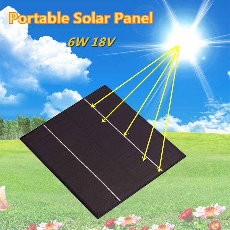 6W 18V Portable Silicon Epoxy Solar Panel Portable Power Bank Board External Battery DIY Clip Solar Cell System Charger