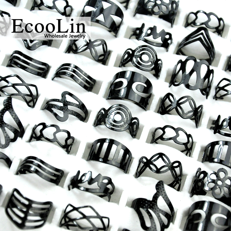 20Pcs Vintage Black Alloy Gypsy Adjustable Finger Tattoo Rings Toe Ring Lots For Women Men Mix Style Jewelry BK4010
