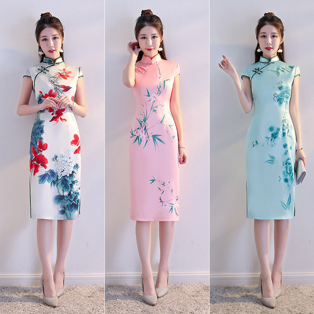 2337c3db6 Women Cheongsam Qipao 2018 New Summer Shanghai Chinese Silk Dress Chinese  Traditional Dress Qipao Long Modern Cheongsam Robe