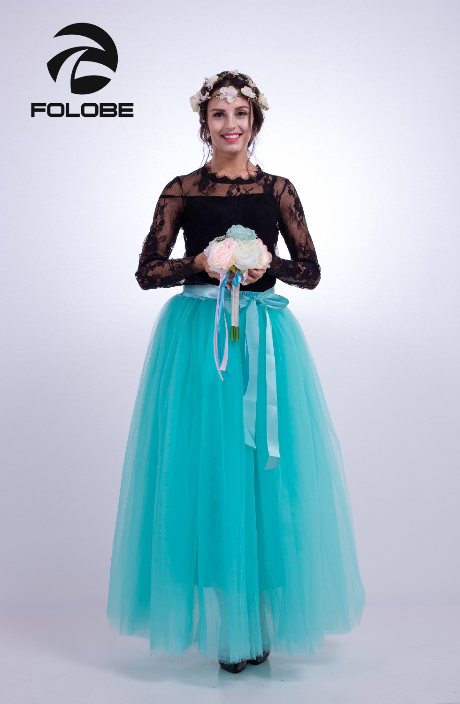 24f48e48d Floobe luz verde Maxi 7 capas tul Faldas Mujer moda tutú falda nupcial  falda boda Lolita Underskirt ...