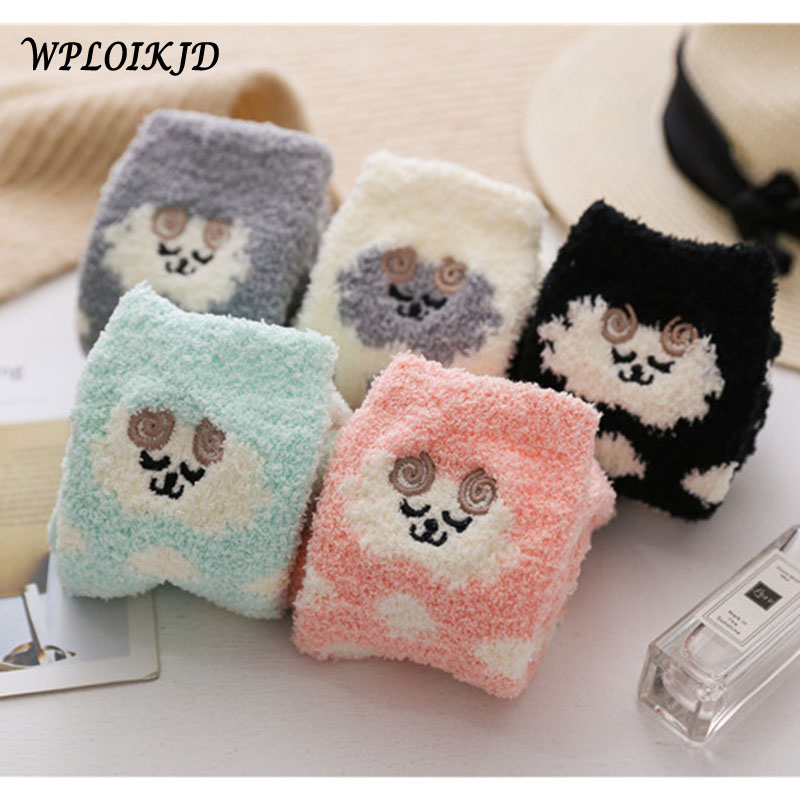 [WPLOIKJD]Winter Funny Cute Embroidery Sheep Warmer Ear Terry   Socks   Animal Meias Floor   Socks   Women Sleep Kawaii Skarpetki Sox