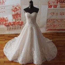 SF1129 リアルサンプル a ラインの花嫁衣装の恋人ネックアップリケワイド裾ウェディングドレス