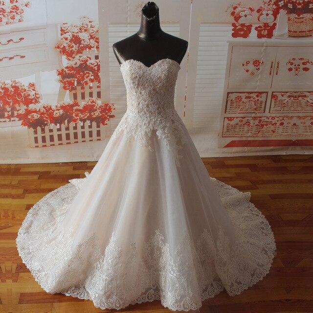 Vestido de novia SF1129, de muestra Real, corte en A, escote Corazón, apliques en el escote, vestidos de boda con dobladillo ancho