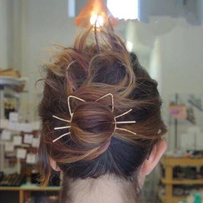 Shawl Hairpin Slide-Comb Brooch-Styling Ponytail Pierced Geometric Metallic Meow Ladies