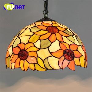 "Image 2 - FUMAT Pendant Light modern Mediterranean Creative Tiffany Stained Glass living room 12 "" Sunflower Home Deco Art Chandelier Lamp"