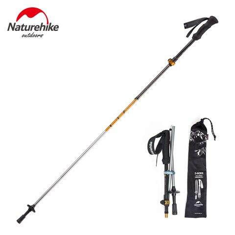 naturehike bengala fibra de carbono liga de aluminio trekking pole caminhadas bengala ultra leve dobravel