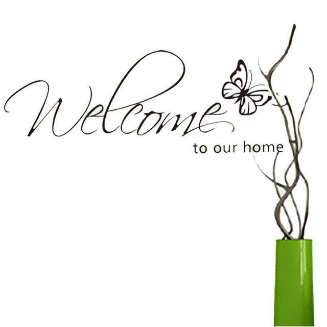 Butterfly Welcome To Our Home Sticker