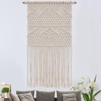 KiWarm 48X75cm Handmade Woven Macrame Wall Tapestry With Lace Knitting Cotton Rope Bohemian Handmade Living Room Home Decor