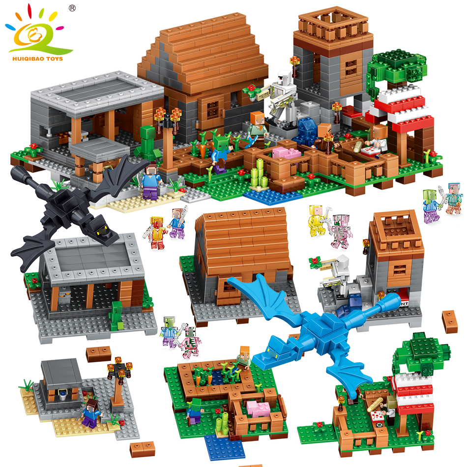 1106pcs My World Village Building Blocks Figures Compatible Legoed Minecrafted Brinquedos Educational Classic Toys For Friends lepin 18010 my world 1106pcs compatible building block my village bricks diy enlighten brinquedos birthday gift toys kids 21128