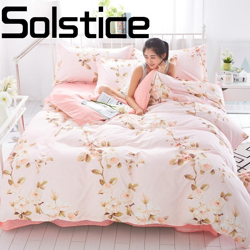 Solstice Home Textile Fashion simple skin-friendly breathable bedsheet Quilt cover pillowcase bedding 3/4pcs