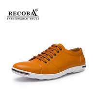 Men Shoes Casual Yellow Luxury Brand Big Size Breathable Genuine Leather Flat Skate Shoes Slip Ons