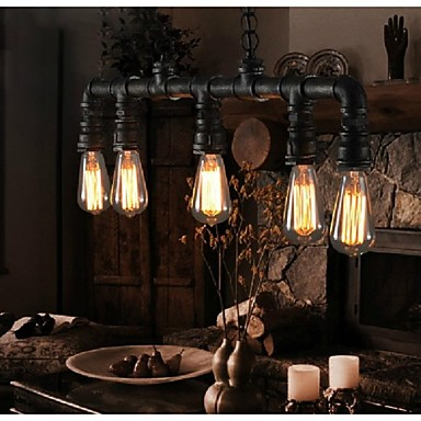 Nordic Loft Retro Pendant Lights Edison Vintage Industrial Lighting Water Pipe Lamp For Dining Room Bar Hanging Light Fixtures american loft style water pipe lamp retro edison pendant light fixtures for dining room hanging vintage industrial lighting