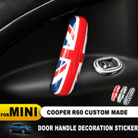 2pcs Union Jack Car Interior Door Handle Knob Cover Trim Case Sticker Car Styling Accessories for BMW Mini Cooper R60 Countryman