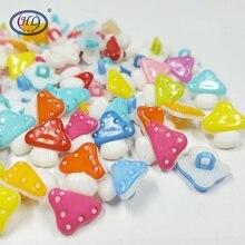 HL  15x14MM 50/100pcs Mix Color Mushroom  Plastic Combined Buttons DIY Scrapbooking Children's Garment Sewing Accessories scrapbooking diy 50