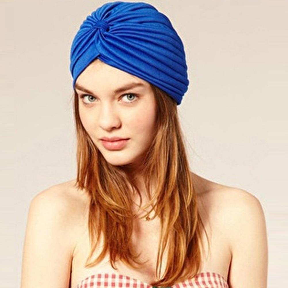 Nouvelle Arrivée Pur Couleur Musulman Turban Cap Femmes Élastique Bonnets Chapeau Bandanas Big Satin Bonnet Indien